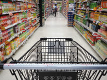 Supermarket. Shopping in supermarket. Shoping cart Stock Images