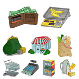 Supermarket, shopping in the store. A selection of pictures on the topic of shopping.Supermarket icon in set collection Stock Image