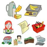 Supermarket, shopping in the store. A selection of pictures on the topic of shopping.Supermarket icon in set collection Stock Photos