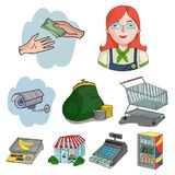 Supermarket, shopping in the store. A selection of pictures on the topic of shopping.Supermarket icon in set collection Stock Images