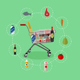 Supermarket shopping trolley cart with grocery products. Vector illustration in flat style. Food icons and design. Elements Royalty Free Stock Image