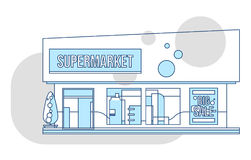 Supermarket showcase and ads illustration, thin line style. Business retail market vector Royalty Free Stock Photos