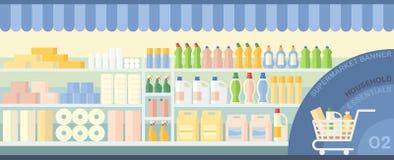Supermarket showcase with household essentials Stock Photos