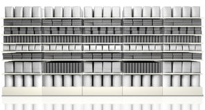 Supermarket som bordlägger med generiska produkter vektor illustrationer