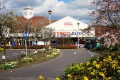 """Tesco """"extra"""" supermarket in spring. Stock Photos"""