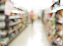 Supermarket store blur background with bokeh Royalty Free Stock Images
