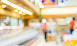 Supermarket store blurred background with bokeh,defocused light. In store royalty free stock photography