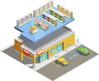 Supermarket Store Building Isometric Exterior View. Supermarket store building exterior and interior ground floor composition isometric view with adjacent Royalty Free Stock Photography