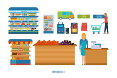 Supermarket store concept with food assortment, opening hours and payment options, delivery icons illustration . Royalty Free Stock Photography