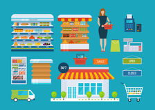 Supermarket store concept with food assortment, opening hours and payment options, delivery icons illustration . Royalty Free Stock Image