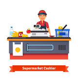 Supermarket store counter desk equipment and clerk. In uniform ringing up grocery  purchases. Flat style vector illustration  on white background Royalty Free Stock Photos