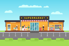 Supermarket, store, hypermarket building with shopping people and seller assistants vector illustration Royalty Free Stock Photography