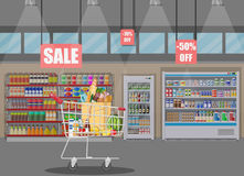 Supermarket store interior with goods. Stock Image