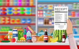 Supermarket store interior with goods. Royalty Free Stock Photography