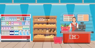 Supermarket store interior with goods. stock illustration