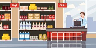 Supermarket or store interior with shelves and goods, groceries, cash desk and cashier. Big shopping center. Vector vector illustration