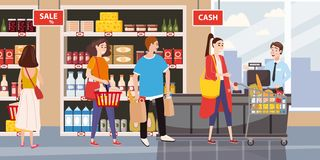 Supermarket or store interior with shelves and goods, groceries, cash desk and cashier. Men and women buyers, cart. Products stock illustration