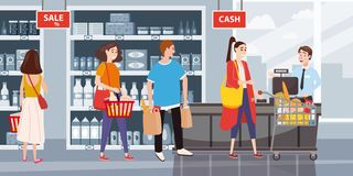 Supermarket or store interior with shelves and goods, groceries, cash desk and cashier. Men and women buyers, cart. Products vector illustration