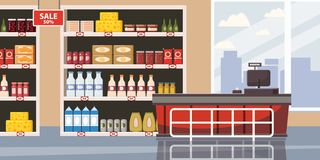Supermarket or store interior with shelves and goods, groceries, cash desk. Big shopping center. Vector, illustration. Supermarket or store interior with shelves vector illustration