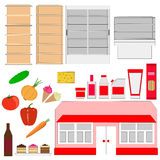 Supermarket . Storefronts and products. A set of shelves and foodstuffs. Grocery store. objects on white background vector illustration