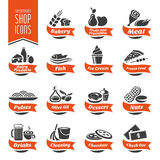 Supermarket Szelfowa ikona Ustawiająca - 4 Obrazy Royalty Free
