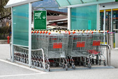 Supermarket Trolley. In the parking Royalty Free Stock Photography