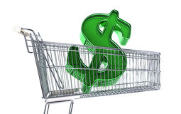 Supermarket trolley with big Dollar sign inside it. Side view on white background Stock Photos
