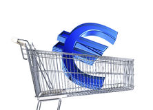 Supermarket trolley with big Euro sign inside it . Supermarket trolley with big Euro sign inside it. Side view on white background Royalty Free Stock Photos