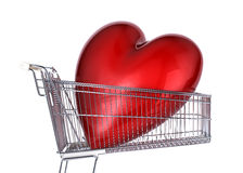 Supermarket trolley with big red shiny heart inside it. Side view, on white background Royalty Free Stock Photos