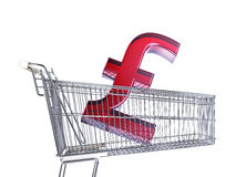 Supermarket trolley with big Sterling sign inside it . Royalty Free Stock Image