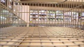 Supermarket trolley dash stock footage