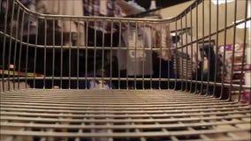 Supermarket trolley dash stock video footage