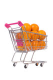 Supermarket trolley full of oranges Stock Image