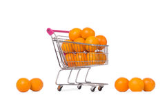 Supermarket trolley full of oranges Royalty Free Stock Photos