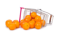 Supermarket trolley full of oranges  on Stock Images