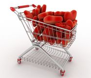 Supermarket trolley full of red hearts Royalty Free Stock Photography