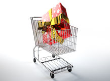 Supermarket trolley with a huge gift inside. Royalty Free Stock Photography