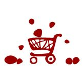Supermarket trolley, icon, vector illustration. Supermarket trolley ethno icon vector red illustration Royalty Free Stock Photos
