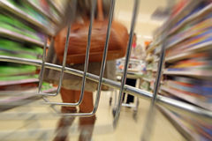 Supermarket trolley rage. Photo of supermarket trolley rage with view from inside trolley basket Royalty Free Stock Photo