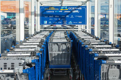 Supermarket trolley stacked Royalty Free Stock Photos