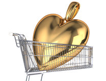 Supermarket trolley with a very big gold heart pendant inside it. Side view, on white background Stock Image