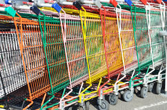 Supermarket trolleys Royalty Free Stock Photography
