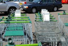Supermarket trolleys, England Royalty Free Stock Images