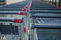 Supermarket trolleys Stock Photo