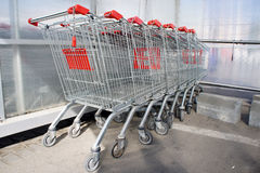Supermarket trolleys Stock Image