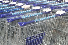 Trolleys of Albert Heijn (Ahold) supermarket, Netherlands   Royalty Free Stock Images