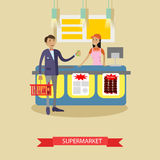 Supermarket vector poster in flat style. Customers buy products in food store. People shopping. Cart with grocery products Stock Photo