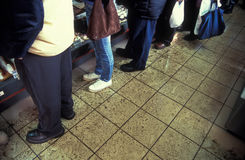 Supermarket waiting line. People in supermarket waiting in line to buy cookies; film scan Royalty Free Stock Images