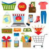 Supermarket web shopping cartoon set food and commerce products shop icons isolated on white vector illustration. Royalty Free Stock Image
