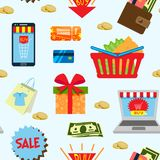 Supermarket web shopping cartoon set food and commerce products shop icons  on white vector seamless pattern Royalty Free Stock Photography